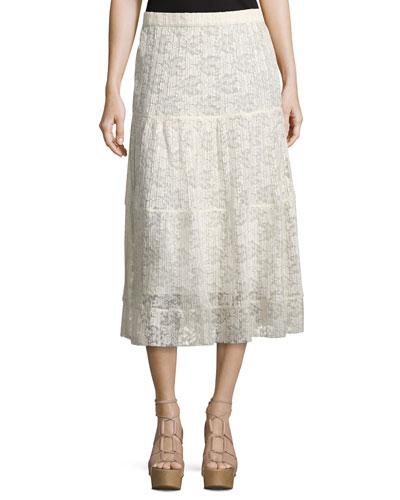 Pleated Burnout Chiffon Midi Skirt, White