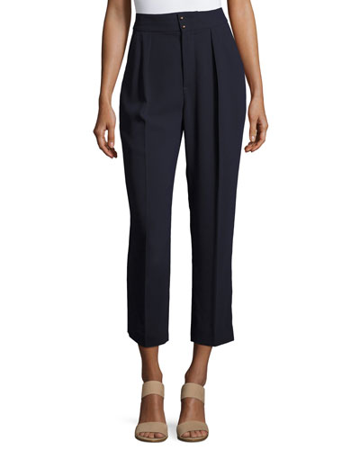 Tailored Straight-Leg Trousers, Navy