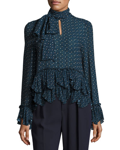 Ruffled Tie-Neck Chiffon Top, Navy
