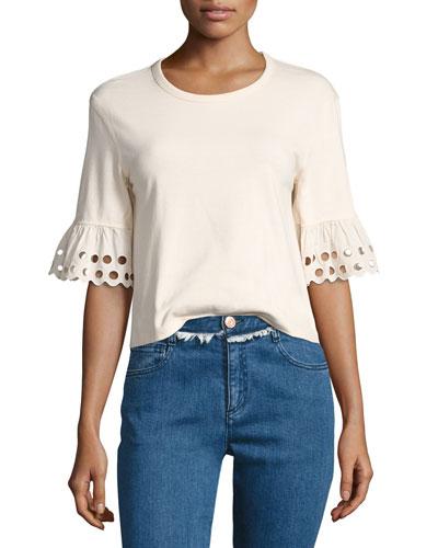 Crewneck Short-Sleeve Cotton Top, Off White
