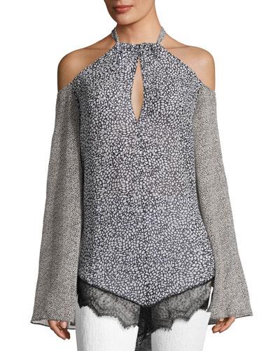 Cold-Shoulder Halter Blouse W/Lace, Black