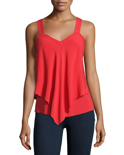 Tiered Cami W/Straps, Red