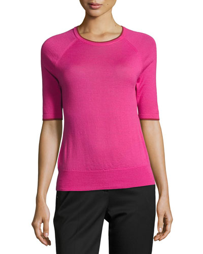 Contrast-Tipped Half-Sleeve Merino Wool Top