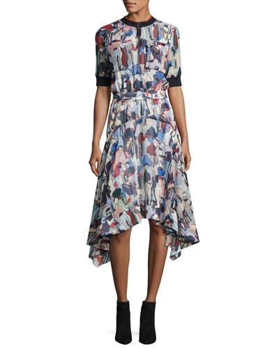 Printed 1/2-Sleeve Handkerchief Dress
