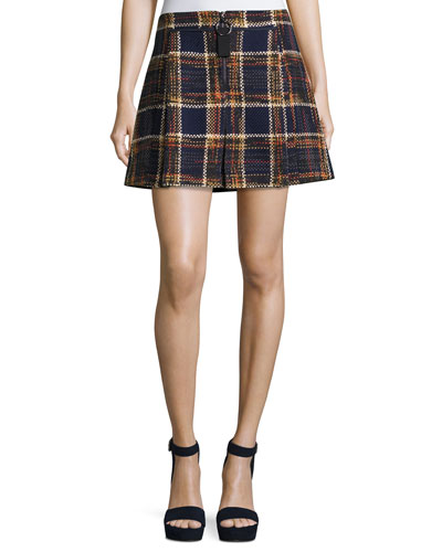 Quarter-Zip Plaid Tweed Mini Skirt