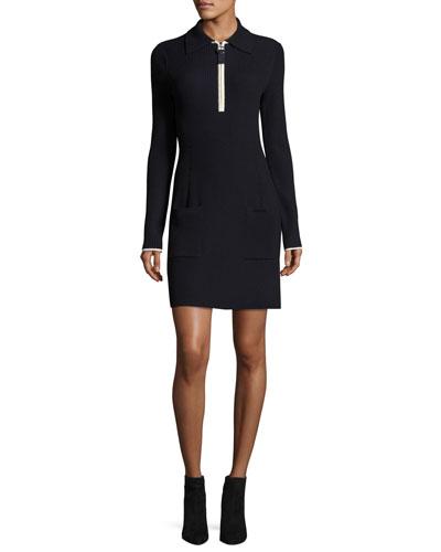 Long-Sleeve Ribbed Wool Polo Dress