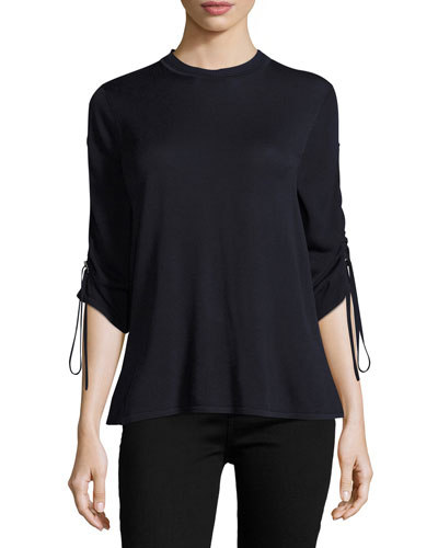 Crew Neck Ruched Sleeve Sweater
