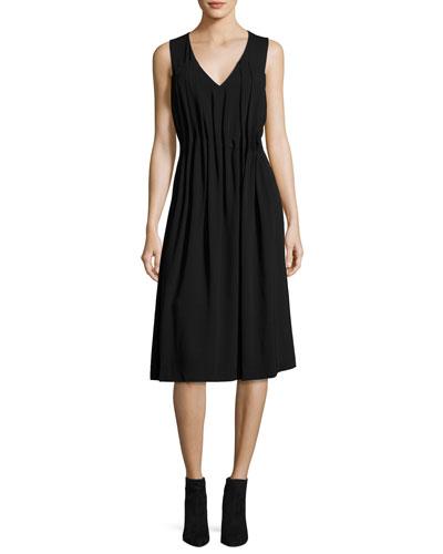 Sleeveless Midi Dress w/ Gathered Pleats