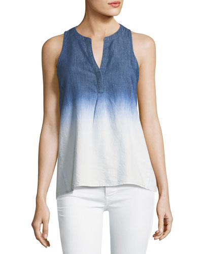 Carley B Ombre Split-Neck Tank Top