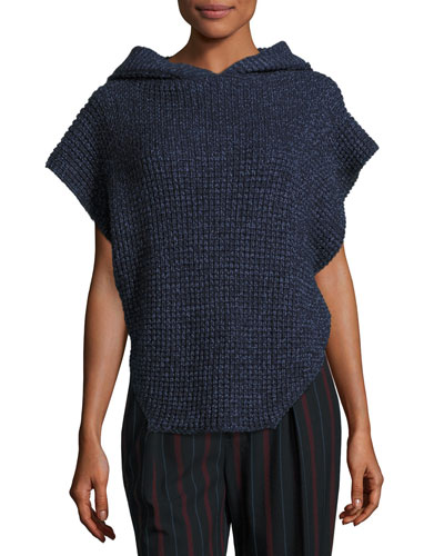 Hooded Cable-Knit Pullover Sweater, Navy