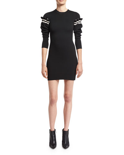 Sweater Dress W/ Ruffled Sleeve Detail, Black