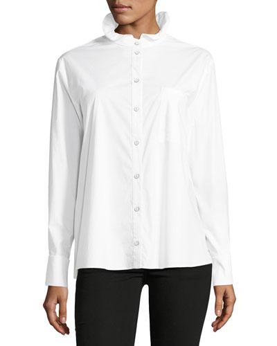 Mika Stand-Collar Button-Front Poplin Shirt