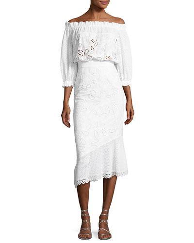 Grace Eyelet Cotton Dress, White
