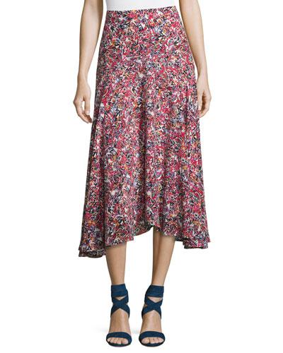Ida A-Line Silk Midi Skirt, Multi