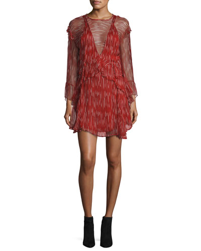Canyon Long-Sleeve Ruffled Dress, Red/White