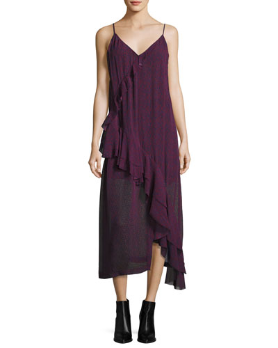 Granby V-Neck Midi Tank Dress, Dark Red