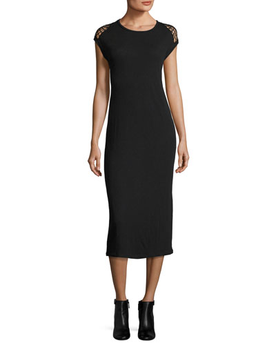 Caplin Sleeveless Midi Dress W/ Crochet, Black