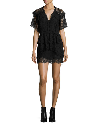 Penny Lace V-Neck Mini Dress, Black