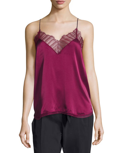 Berwyn Silk Camisole Top, Red