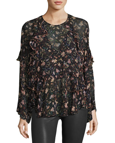 Long-Sleeve Floral-Print Chiffon Top