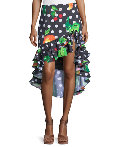 Polka-Dot Fruit-Print Ruffled High-Low Skirt