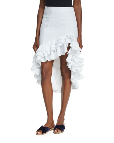 Pencil Ruffled High-Low Skirt