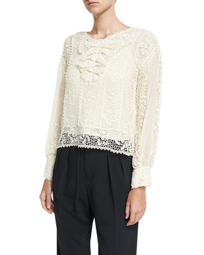 Long-Sleeve Crocheted Ribbon Silk Georgette Blouse