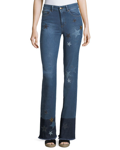 Stone-Washed Stretch Denim Jeans w/ Star Patches
