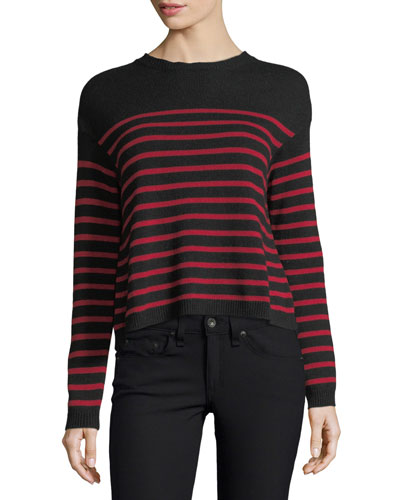 Striped Sweater w/ Jacquard Wings & Star Embroidery
