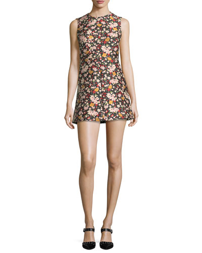 Chelsea Sleeveless Micro-Flower Jacquard Minidress