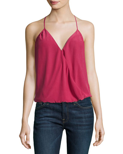 Abriella Surplice Camisole Top, Red