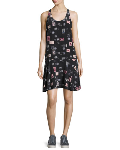 Arianna Sleeveless Stamp-Print Shift Dress, Black