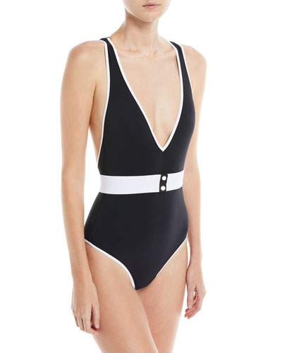 Deep V Belted One-Piece Swimsuit, Orange