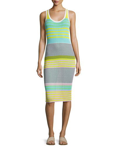 Sleeveless Rib-Knit Midi Dress, Yellow Multi