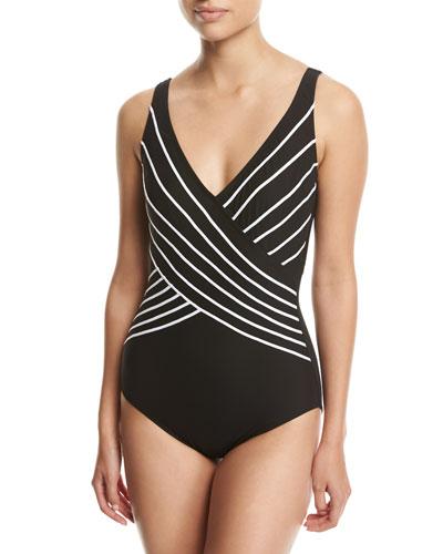 Embrace Surplice Striped One-Piece Swimsuit, Black
