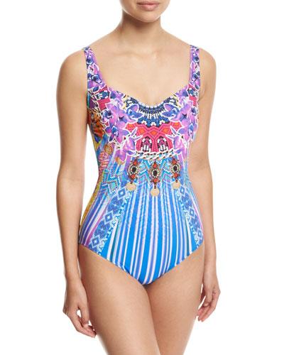 Sarsana Square-Neck One-Piece Swimsuit, Blue Multi