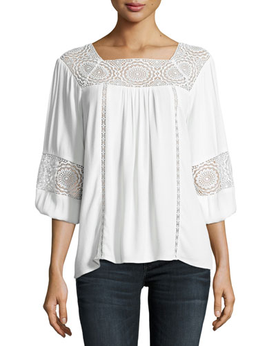 Bellange 3/4-Sleeve Lace Top, White