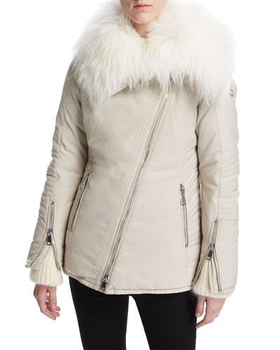 Choisia Asymmetric-Zip Jacket w/ Fur Trim