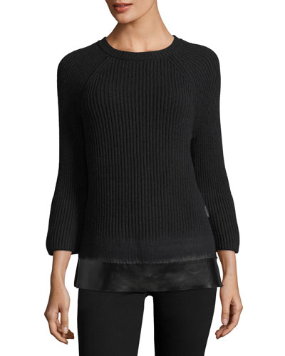 Crewneck Bell-Sleeve Ribbed Wool-Cashmere Sweater w/ Leather