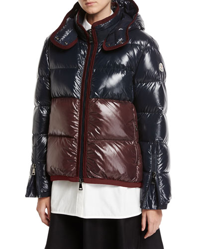 Continus Colorblocked Shiny Quilted Down Coat