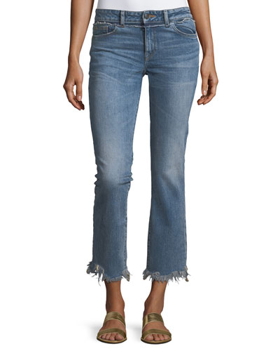 Mara Ankle Straight Jeans w/ Distressed Hem