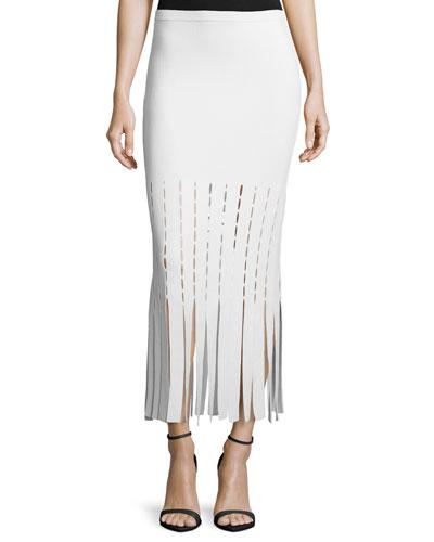 Cutout Car-Wash Hem Midi Skirt