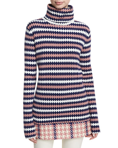 Maglione Diamond-Stitch Turtleneck Sweater