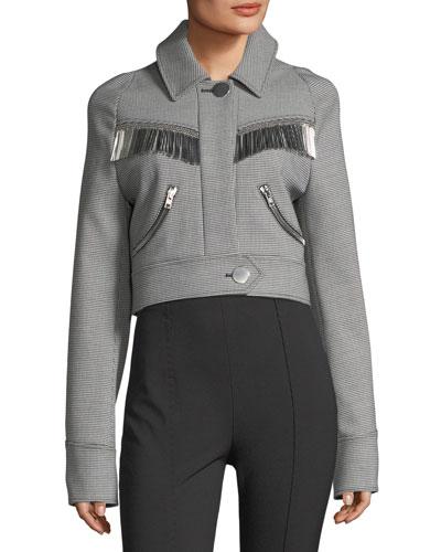 Western Cropped Fringe-Trim Jacket
