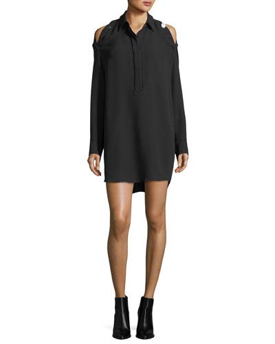 Convertible Cold-Shoulder Silk Shirtdress