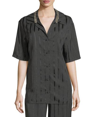 Striped Short-Sleeve Pajama Shirt
