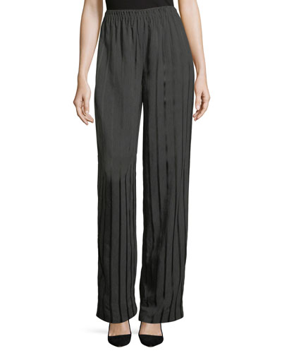 Satin-Striped Pajama Trousers