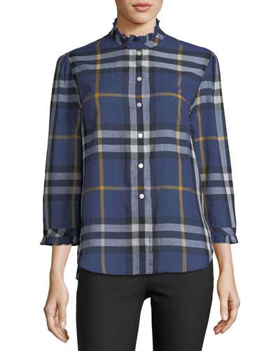 Salla Ruffle-Trim Check Shirt