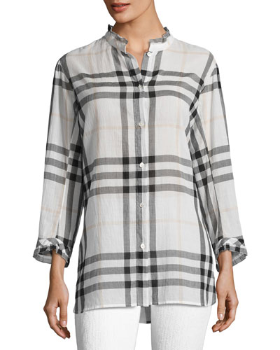 Salla Ruffle-Trim Check Shirt, White
