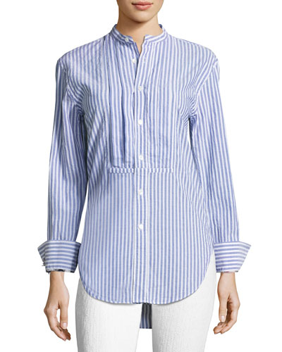 Burberry Cottons STRIPED STAND-COLLAR SHIRT WITH PINTUCKED FRONT
